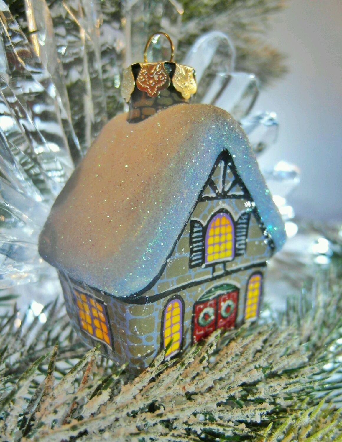 Сказочный домик на ёлку. Стеклянная игрушка с росписью, Украшения, Москва, Фото №1