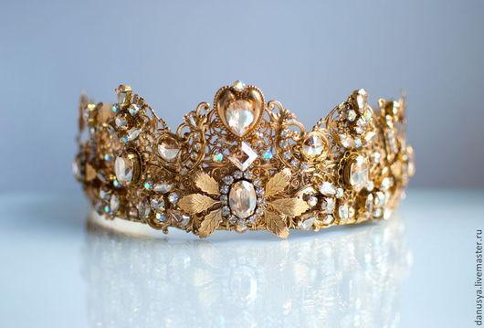 Диадемы, обручи ручной работы. Ярмарка Мастеров - ручная работа. Купить Золотая корона в стиле DOLCE&GABBANA и серьги. Handmade. Золотой
