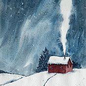 Картины и панно handmade. Livemaster - original item Picture. House in the winter forest (Burgundy, blue, white, dark red). Handmade.
