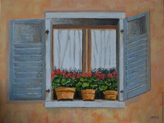 """Картины цветов ручной работы. Ярмарка Мастеров - ручная работа. Купить Картина """"Окно с геранью"""". Handmade. Оранжевый, Средиземное море"""