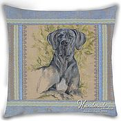 "handmade. Livemaster - original item ""Great Dane - blue color"" / Decorative pillow with hand-painted. Handmade."
