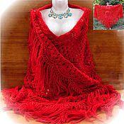 Аксессуары handmade. Livemaster - original item Shawl Ryabinushka 200x160x160 knit (R-R sides, excluding brushes). Handmade.