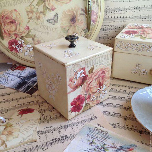 Короб для кухни Французский Сад декупаж.Короб для специй.Короб для кухни.Короб для чая.Короб для трав.Короб для хранения.Винтажный стиль