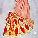 Комплект карнавальный `Коломбина` в стиле комедия дель Арте. Индивидуальный пошив, Флана