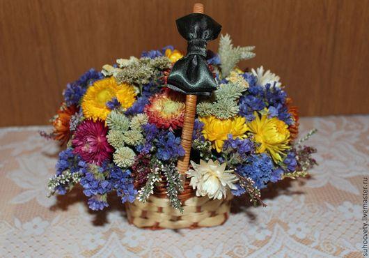 Интерьерные композиции ручной работы. Ярмарка Мастеров - ручная работа. Купить Сухоцветы в корзинке. Handmade. Композиции их сухоцветов