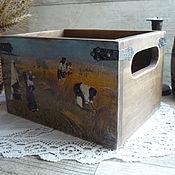 Для дома и интерьера ручной работы. Ярмарка Мастеров - ручная работа Большой короб из кедра для кухни ,,Полдень,,. Handmade.