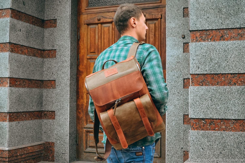 Кожаный рюкзак для города, Рюкзак для ноутбука, Рюкзаки, Днепр,  Фото №1
