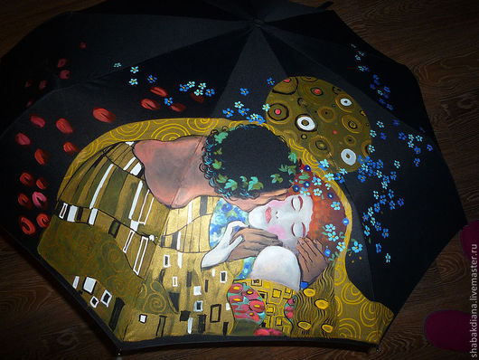 Зонты ручной работы. Ярмарка Мастеров - ручная работа. Купить Зонт с росписью -  Поцелуй. Handmade. Черный, поцелуй, подарок девушке