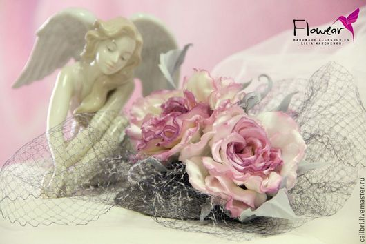 """Шляпы ручной работы. Ярмарка Мастеров - ручная работа. Купить Цветы из шелка. Вуалетка с розами - """"Pink Smoke"""". Handmade. Розовый"""