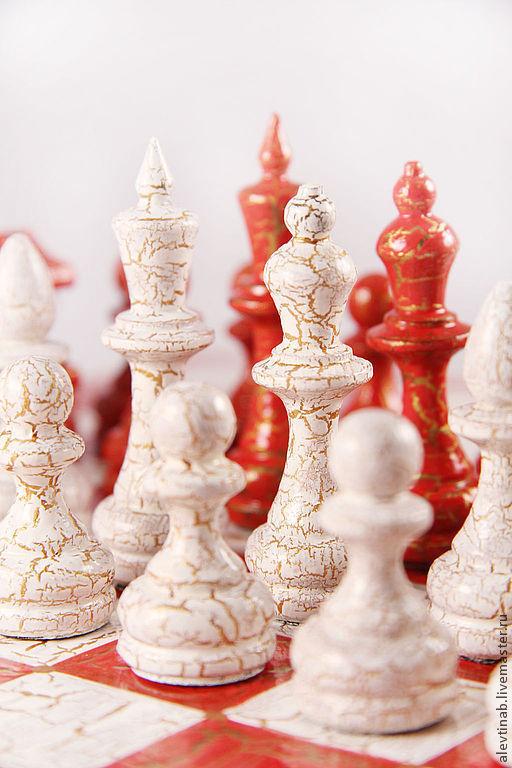 Настольные игры ручной работы. Ярмарка Мастеров - ручная работа. Купить шахматы классические Красно-белые кракелюр. Handmade. Кракелюр