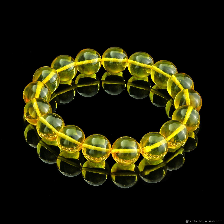 Amber bracelet 22 cm lemon (14 mm) with elastic band, Bead bracelet, Kaliningrad,  Фото №1