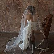 Wedding veils handmade. Livemaster - original item Veil with narrow lace. Handmade.