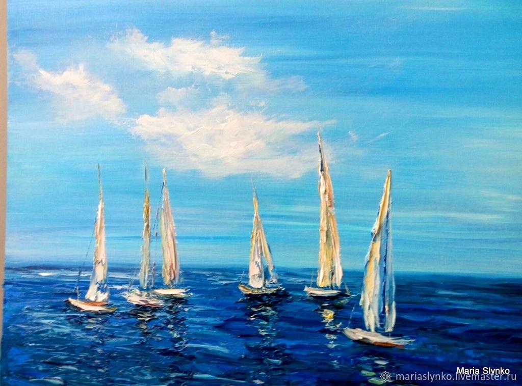 Oil painting. Seascape. Sails