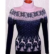 Одежда handmade. Livemaster - original item Sweater female wild Forest reindeer with a Norwegian ornament, lantern sleeve. Handmade.