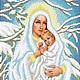 Вышивка ручной работы. Дева Мария с младенцем( зимняя).Набор для вышивки бисером.. Вышивка бисером. (zolotayakorona). Интернет-магазин Ярмарка Мастеров.