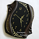 Wall clock 'the Curves of time', black glass and oak wenge, Watch, Ivanovo,  Фото №1