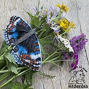 Украшения handmade. Livemaster - original item Brooch leather Butterfly Blue Pansy-3. Handmade.