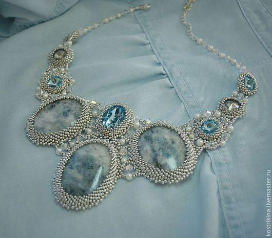 """Колье, бусы ручной работы. Ярмарка Мастеров - ручная работа. Купить Колье """"Aquamarine"""". Handmade. Голубой, серебряный, джинсовый стиль"""