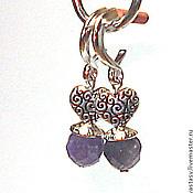 """Украшения ручной работы. Ярмарка Мастеров - ручная работа Серьги """"Silver heart"""", с аметистом. Handmade."""