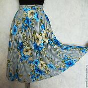 Одежда ручной работы. Ярмарка Мастеров - ручная работа Юбка летняя из вискозы,длина миди,с цветами,в полоск. Handmade.