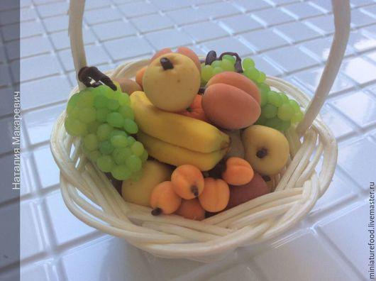 Фото кукольной еды. Корзинка с фруктами для кукол.