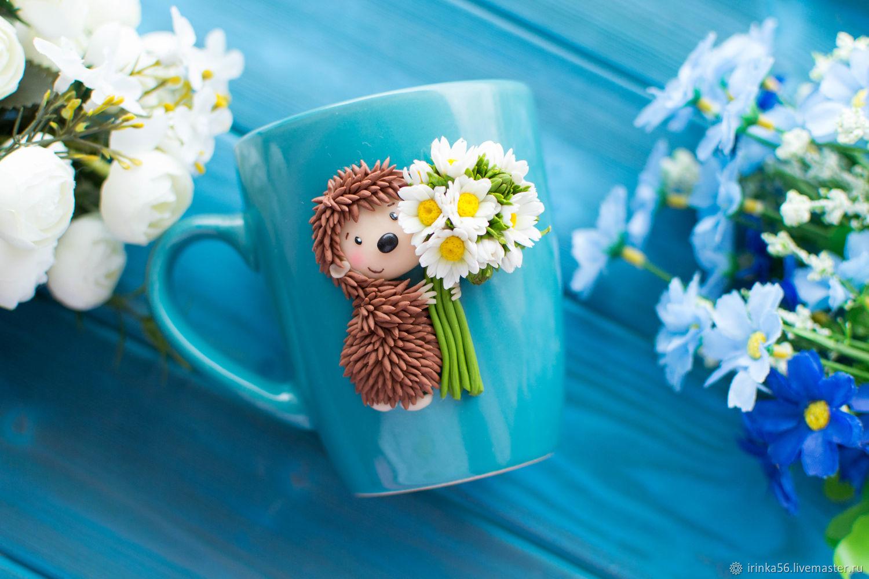 Кружка с декором ежик с ромашками, Кружки и чашки, Орск,  Фото №1