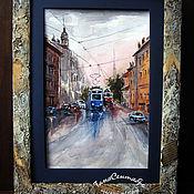 Картины и панно handmade. Livemaster - original item Pictures: Watercolor city in a designer frame AFTER THE RAIN. Handmade.