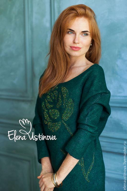 """Платья ручной работы. Ярмарка Мастеров - ручная работа. Купить Валяное платье """"Lush Meadow"""". Handmade. Тёмно-зелёный, handmadecollection"""