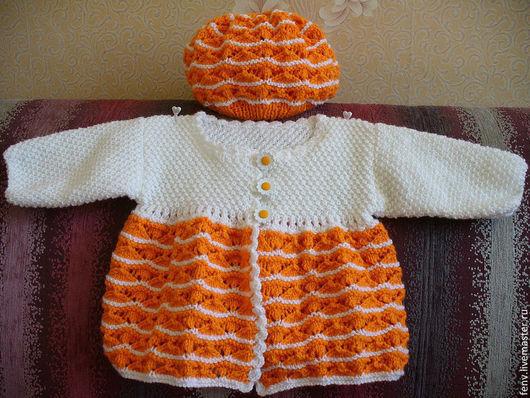 Одежда для девочек, ручной работы. Ярмарка Мастеров - ручная работа. Купить Вязанный Жакет бело-оранжевый+ шапочка. Handmade. Жакет