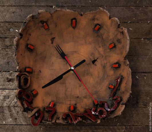 Часы для дома ручной работы. Ярмарка Мастеров - ручная работа. Купить Уставшее время. Handmade. Разноцветный, часы на кухню, керамика