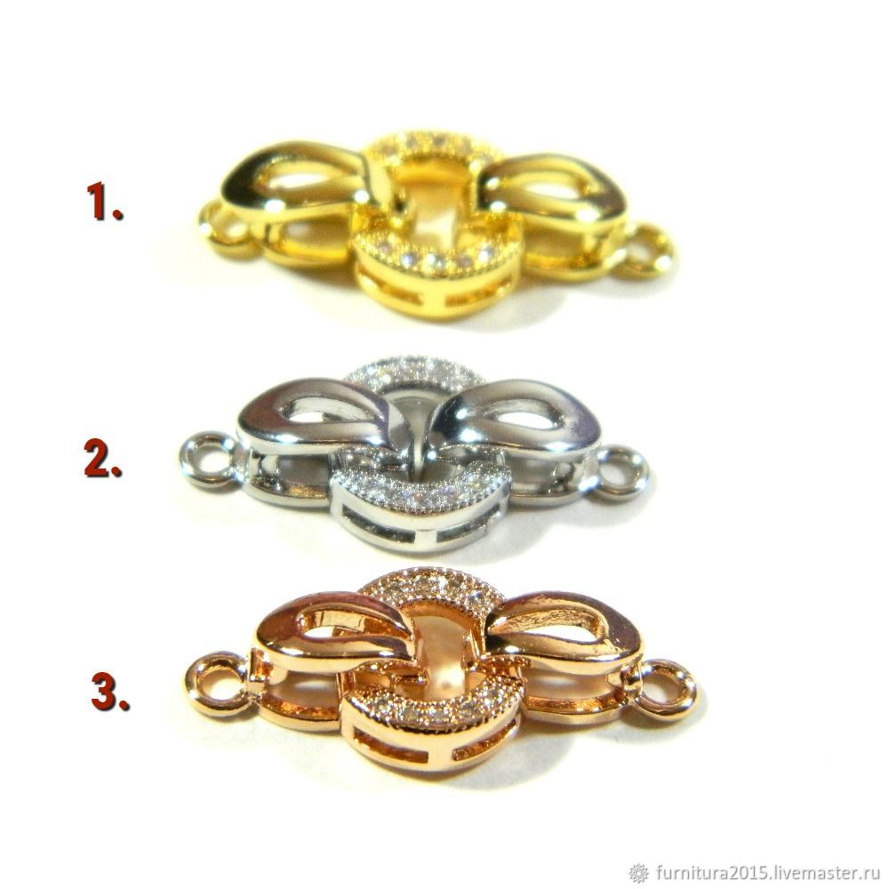 The locks are 18K gold, platinum, pink, micro zircons. PCs, Accessories for jewelry, Saratov,  Фото №1