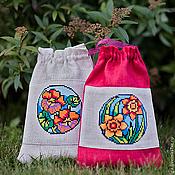Для дома и интерьера ручной работы. Ярмарка Мастеров - ручная работа Подарочные Мешочки Floral для хранения мелочей с вышивкой крестом. Handmade.