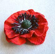 Украшения handmade. Livemaster - original item Felted brooch poppy scarlet. Handmade.