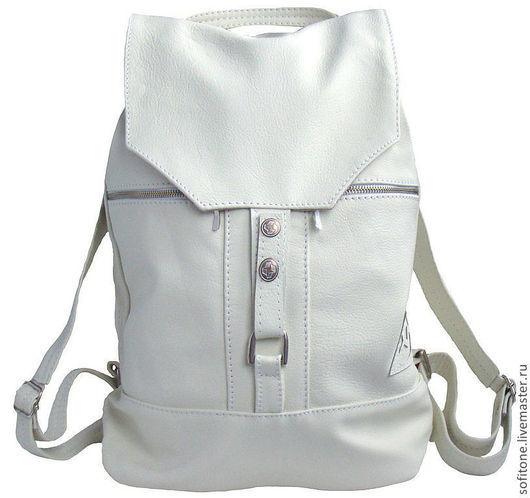 """Рюкзаки ручной работы. Ярмарка Мастеров - ручная работа. Купить Белый рюкзак из кожи  """" Городская жизнь """". Handmade."""