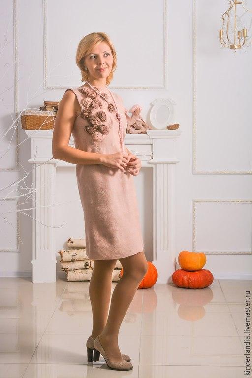 Платья ручной работы. Ярмарка Мастеров - ручная работа. Купить Платье Розовый жемчуг. Handmade. Платье, Мокрое валяние