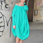 Одежда handmade. Livemaster - original item Turquoise tunic dress with dropped shoulders - TU0568STR. Handmade.