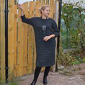 Одежда ручной работы. Ярмарка Мастеров - ручная работа Платье-свитер темный маренго с аксессуарами. Handmade.