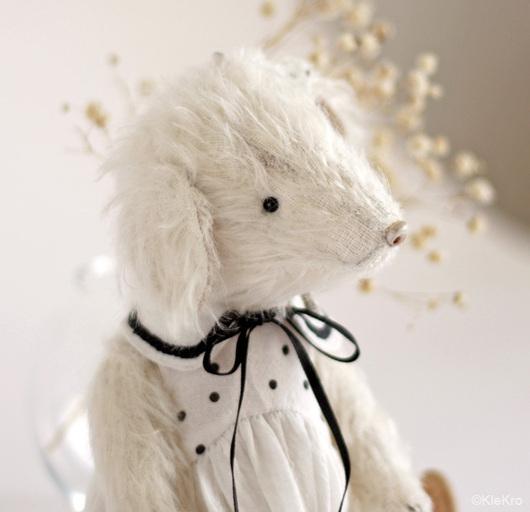 Мишки Тедди ручной работы. Ярмарка Мастеров - ручная работа. Купить Белая собачка. Handmade. Белый, собака. Клетчатый Крокдил.