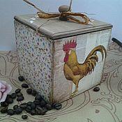 Подарки к праздникам ручной работы. Ярмарка Мастеров - ручная работа Коробочка для чая (кофе,специй,сахара)Петя Петушок. Handmade.