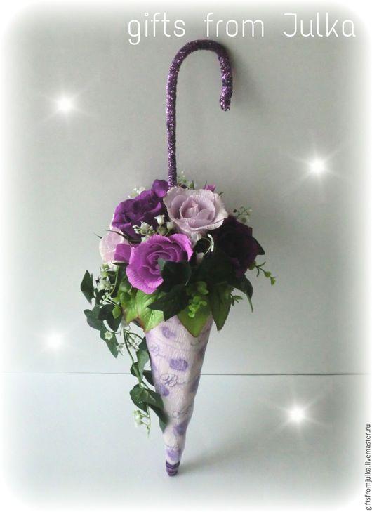 """Букеты ручной работы. Ярмарка Мастеров - ручная работа. Купить Зонтик из конфет """" Сиреневые розы"""" ( композиция из конфет). Handmade."""
