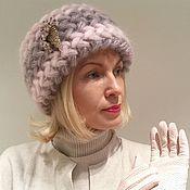 Аксессуары ручной работы. Ярмарка Мастеров - ручная работа Шапка  Орхидея вязаная, шапка вязанная из кид-мохера, женская, теплая. Handmade.