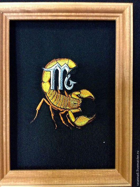"""Символизм ручной работы. Ярмарка Мастеров - ручная работа. Купить Подарочная картина """"Гороскоп Скорпион"""" вышитая, любой знак гороскопа. Handmade."""