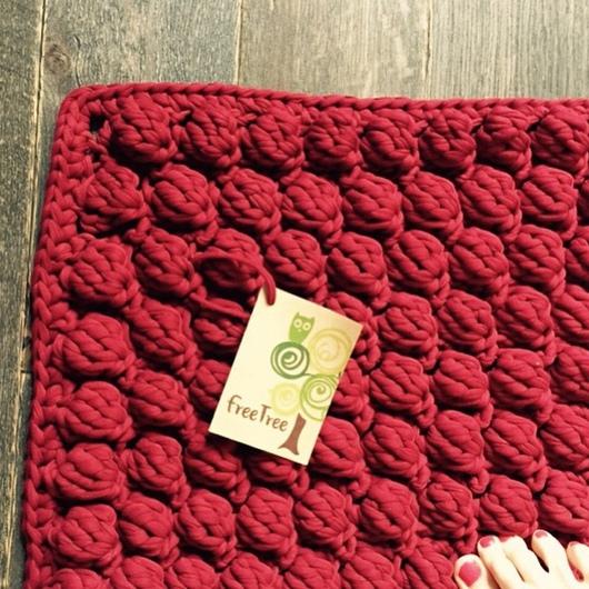 Текстиль, ковры ручной работы. Ярмарка Мастеров - ручная работа. Купить Гигантовязаный коврик из 100% хлопка цвета Бордо. Handmade.