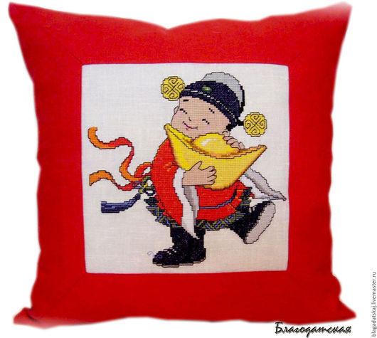 """Текстиль, ковры ручной работы. Ярмарка Мастеров - ручная работа. Купить Подушка""""Богатство"""". Handmade. Ярко-красный, подушка диванная"""