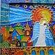 """Фантазийные сюжеты ручной работы. """"Ангел и скрипка"""" роспись стекла. Vittoria Art. Интернет-магазин Ярмарка Мастеров. Скрипка, река"""