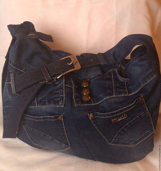 Женские сумки ручной работы. Ярмарка Мастеров - ручная работа. Купить Джинсовая сумка. Handmade. Тёмно-синий, сумка женская