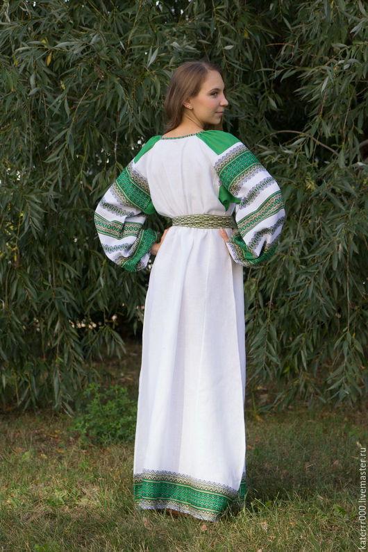 """Одежда ручной работы. Ярмарка Мастеров - ручная работа. Купить Платье """"Этно"""" бело-зеленое. Handmade. Однотонный, этно стиль"""