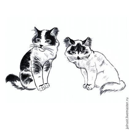 Животные ручной работы. Ярмарка Мастеров - ручная работа Картина Котята рисунок углем графика кошки черно-белый. Handmade.