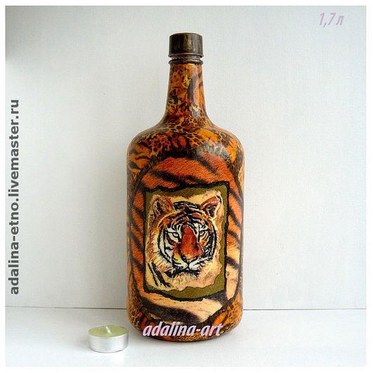 Графины, кувшины ручной работы. Ярмарка Мастеров - ручная работа. Купить ТИГР бутыль для напитков. Handmade. Бутылка, африка, стекло