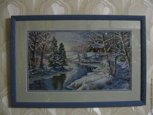 """Пейзаж ручной работы. Ярмарка Мастеров - ручная работа. Купить Вышитая картина  """"зимний пейзаж"""".. Handmade. Синий, картина в подарок"""